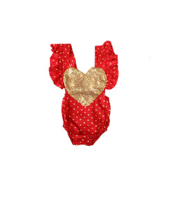 Red/Gold Sequin Heart Romper