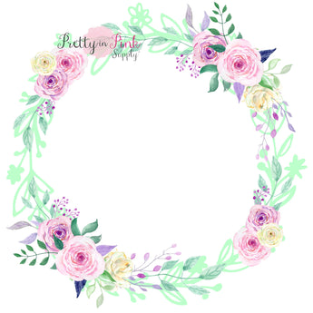 Pink/Lavender Blank Center Floral Wreath Iron On - Pretty in Pink Supply