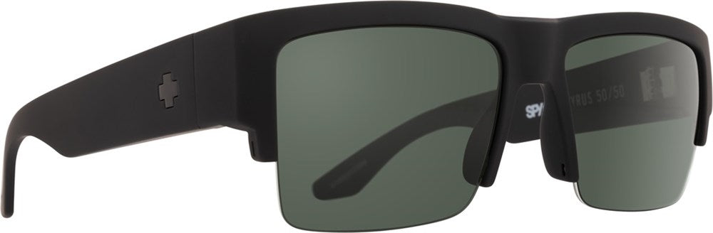SPY Sunglass Cyrus 5050 - Soft Matte Black - HD Plus Gray Grey Green Polar