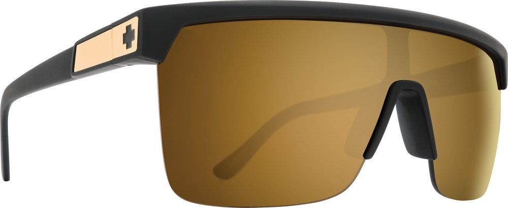 SPY Sunglass Flynn 5050 - 25 Anniv Matte Black Gold - HD Plus Bronze w/ Gold Spectra Mirror