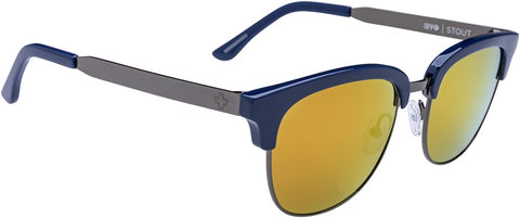 SPY Refresh Sunglass Stout - Navy Gunmetal 0 Grey W/ Gold Mirror