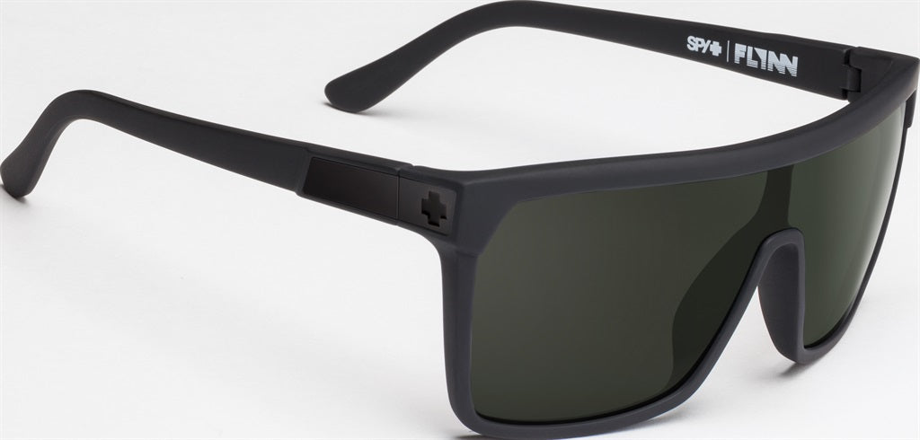 SPY Sunglass Flynn - Soft Matte Black - Happy Grey Green