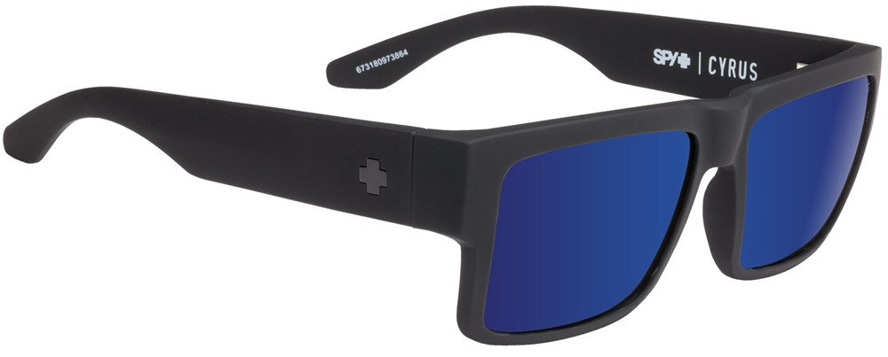 SPY Sunglass Cyrus - Soft Matte Black - Happy Bronze W/ Blue Spectra