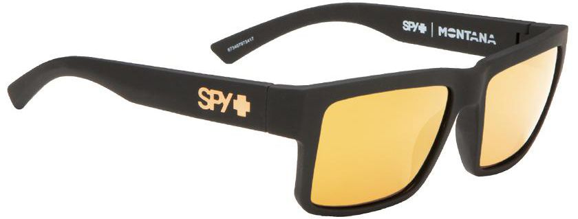 SPY Sunglass Montana - Soft Matte Black - Happy Bronze w/Gold Mirror