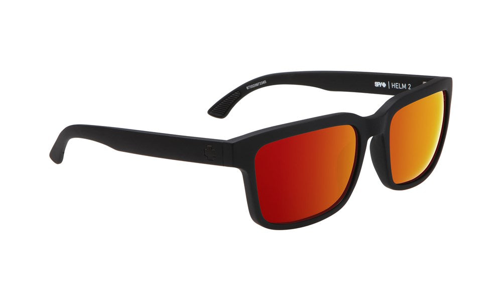 SPY Sunglass Helm 2 - Soft Matte Black - Happy Grey Green W/ Red Spectra