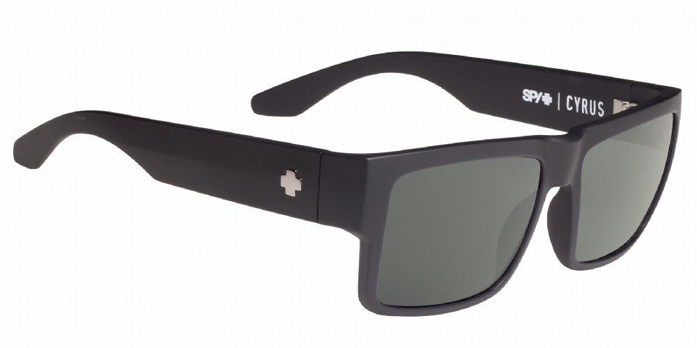 SPY Sunglass Cyrus - Matte Black - Happy Grey Green