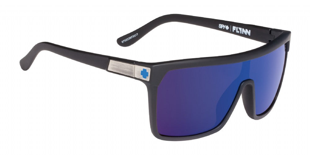 SPY Sunglass Flynn - Soft Matte Black - Happy Bronze w/Dark Blue Spectra