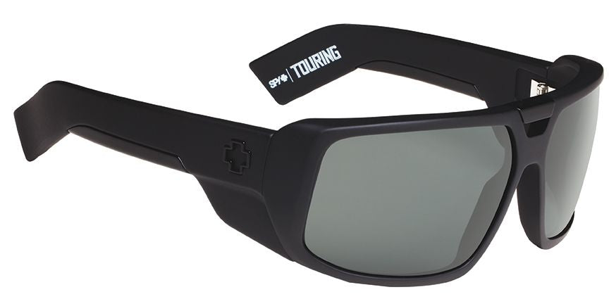 SPY Sunglass Touring - Soft Matte Black - Happy Grey Green Polarized