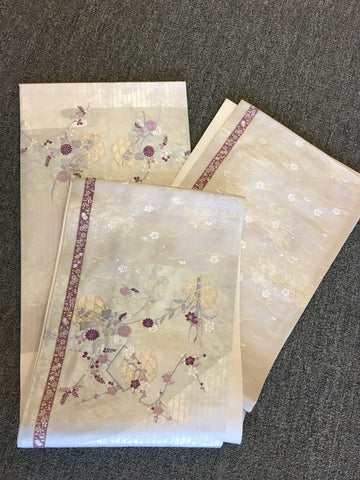 Obi - Ivory with delicate purple flowers and edge trim - TLS Living