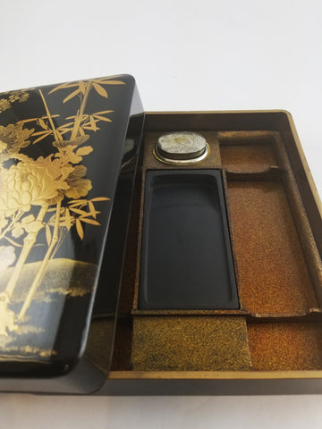 GOLD-LACQUERED INKSTONE CASE