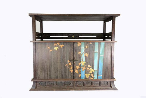 Antique Japanese cabinet with blue and orange hand-painted bamboo