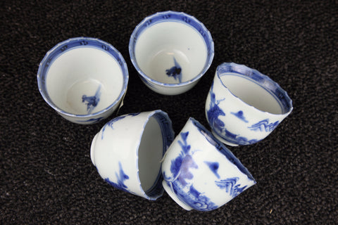 IMARI BLUE AND WHITE PORCELAIN SAKE CUP