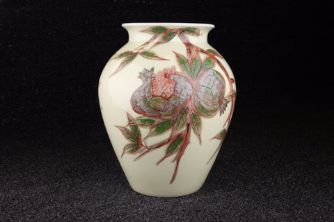 Vintage Japanese flower vase with punica granatum pattern in red, grey, brown, and green