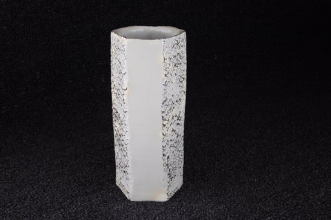 HEXAGON SHAPE FLOWER VASE BY BIZEN YAKI