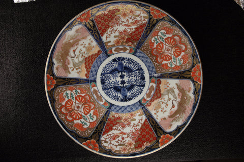 ANTIQUE IMARI PAINTED FLOWER AND BIRD PATTERN LARGE PLATE | TLS Living