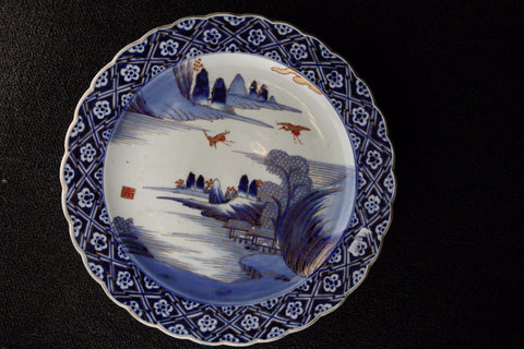 IMARI BLUE AND WHITE PORCELAIN LANDSCAPE PATTERN LARGE PLATE