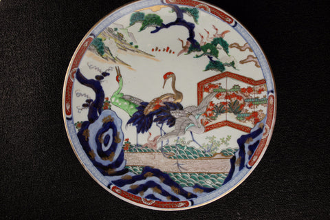 IMARI PAINTED CRANE PATTERN LARGE PLATE - TLS Living