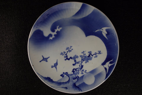 IMARI BLUE AND WHITE PORCELAIN FLOWER AND BIRD PATTERN LARGE PLATE
