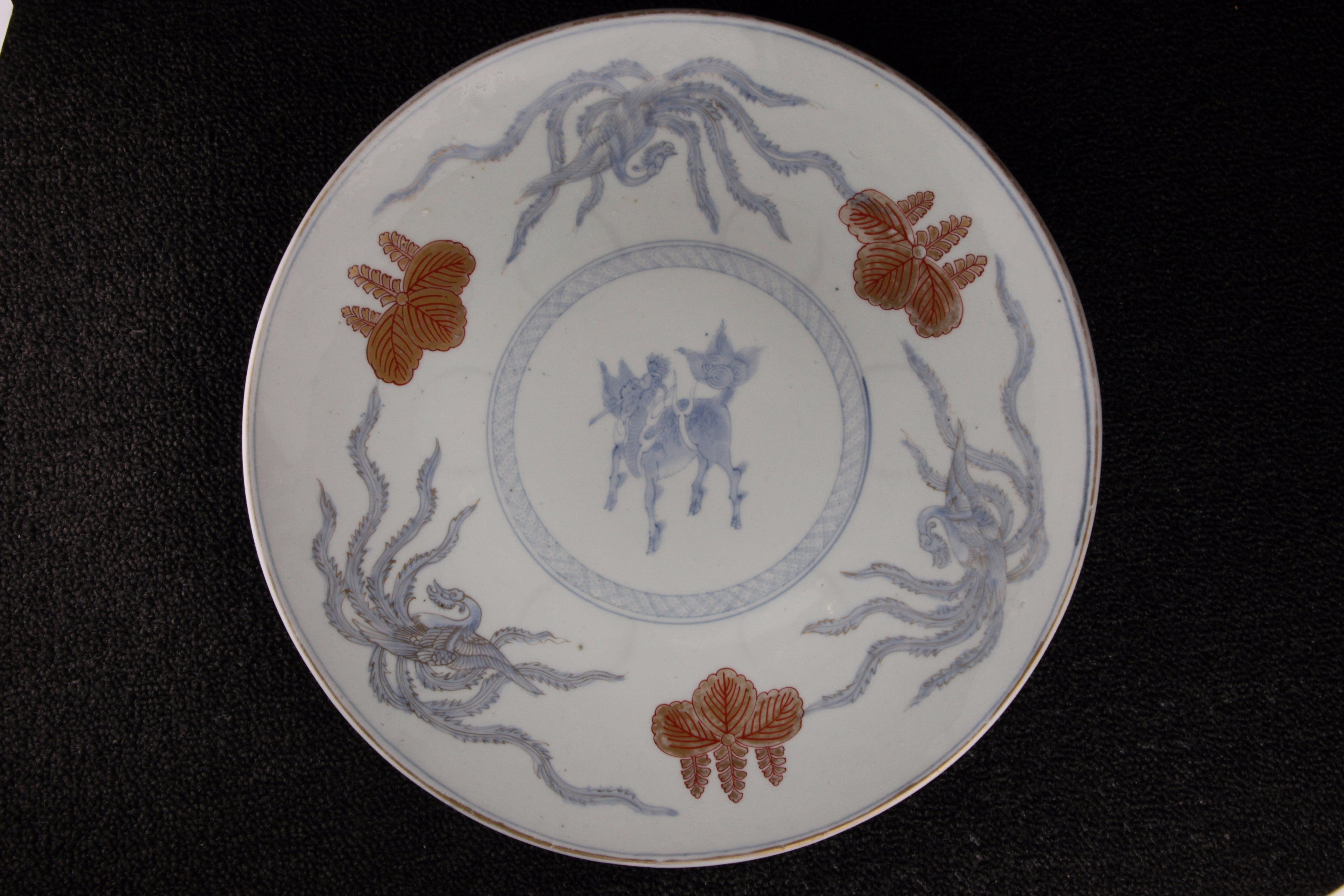 ANTIQUE IMARI BLUE AND WHITE PORCELAIN FOXGLOVE TREE PATTERN LARGE PLATE ... & BLOWING INK FLOWER AND BIRD PATTERN LARGE PLATE   TLS Living