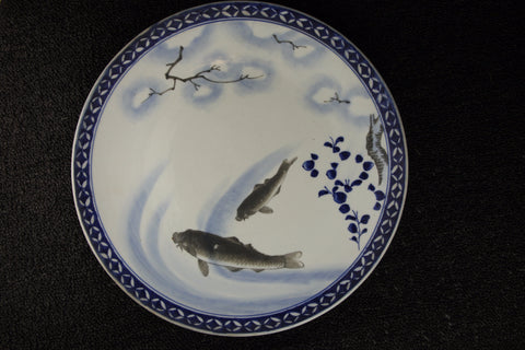 BLUE AND WHITE PORCELAIN FISH PATTERN LARGE PLATE | TLS Living