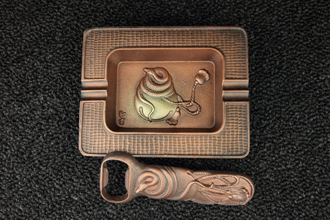 ASHTRAY, BOTTLE OPENER SET
