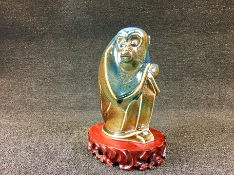 VARIABLE GLAZED CERAMIC CROUCHING MONKEY