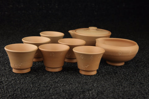 UNGLAZED REDDISH BROWN POTTERY INFUSING TEA BOWLS
