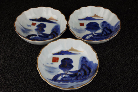 IMARI BLUE AND WHITE PORCELAIN LANDSCAPE PATTERN NAMASU PLATE