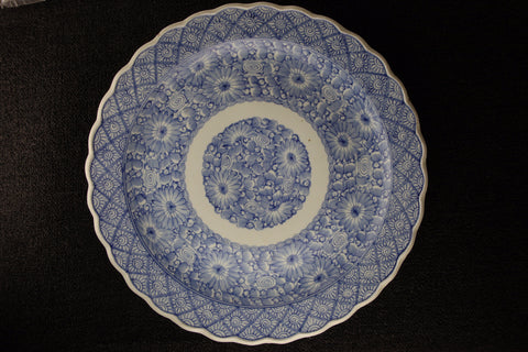 Imari vintage large porcelain plate in blue and white with flower pattern
