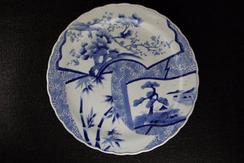 IMARI BLUE AND WHITE PORCELAIN PINE-BAMBOO-PLUM  LARGE PLATE