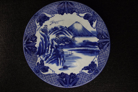 IMARI BLUE AND WHITE PORCELAIN FUJI LANDSCAPE PATTERN LARGE PLATE - TLS Living