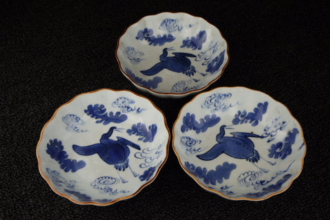 Imari vintage porcelain namasu plates in blue and white with crane pattern - TLS Living