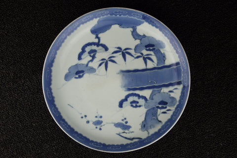 Japanese blue and white handpainted porcelain plate imported by TLS Living