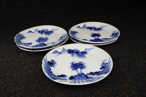 BLUE AND WHITE PORCELAIN LANDSCAPE PATTERN MEDIUM PLATE | TLS Living