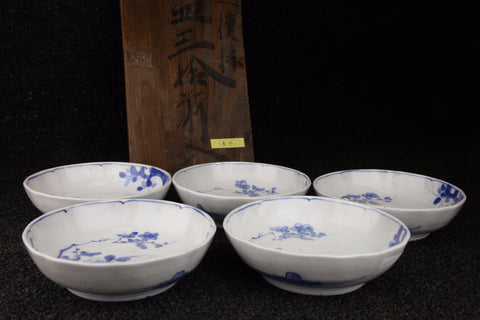 BLUE AND WHITE PORCELAIN PLUM PATTERN NAMASU PLATE - TLS Living