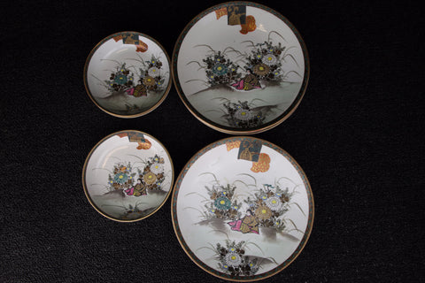 A SET OF KUTANI WARE PAINTED PLATE