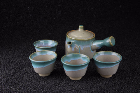 Vintage Japanese Mingei folk craft tea set, beige with green pattern