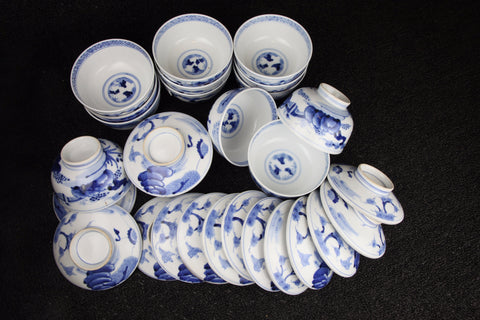 Imari vintage porcelain teacups with lid/saucers in blue and white with floral and abstract pattern