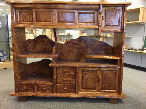 Antique horse chestnut burl wood open display and storage cabinet