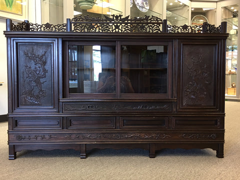 Exotic antique carved console