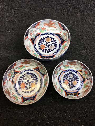 3-PIECE IMARI PAINTED BOWLS - TLS Living