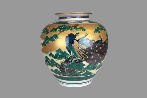 Antique Japanese peacock vase