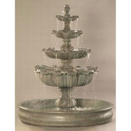 "Italian 4-Tier Outdoor Water Fountain with 74 "" Basin"