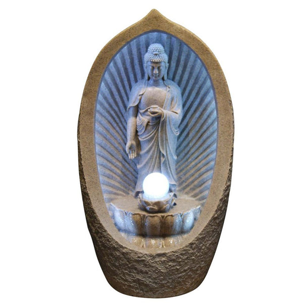 Buddha with Moving Ball with White LED Light