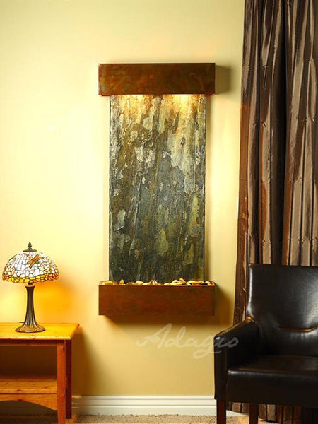 Cascade Springs Wall Fountain - Green Slate and Rustic Copper Trim with Squared Corners