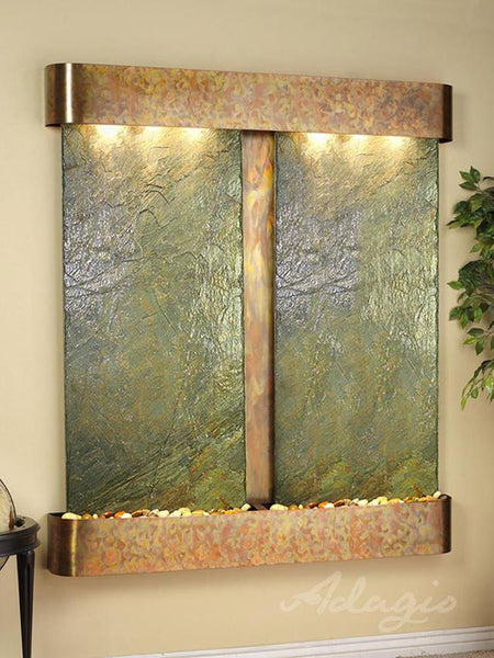 Cottonwood Falls with Rustic Copper and Green Slate Wall Fountain