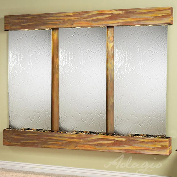 Deep Creek Falls Mirror Wall Fountain with Rustic Copper Trim and Silver Mirror Surface
