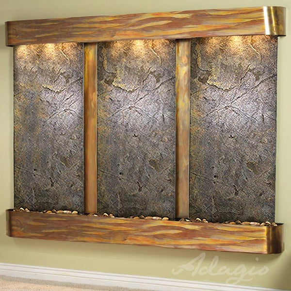 Deep Creek Falls Wall Fountain with Rustic Copper and Green Featherstone
