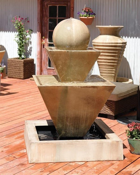 Double Oblique With Ball Garden Fountain