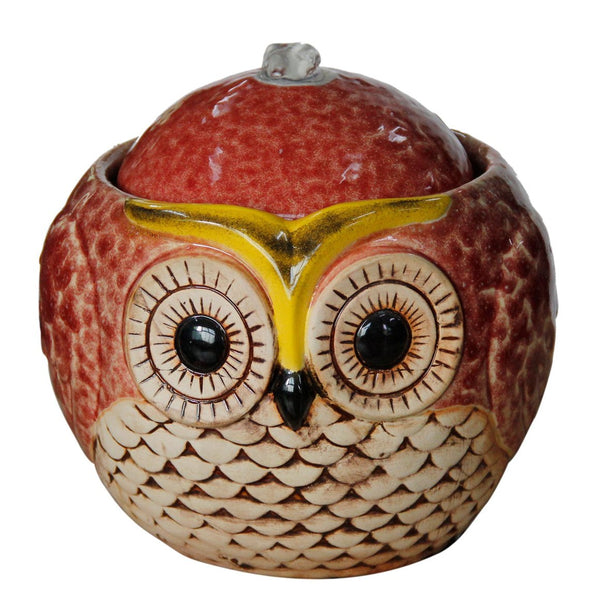"Orange 7"" Ceramic Owl Tabletop Fountain"